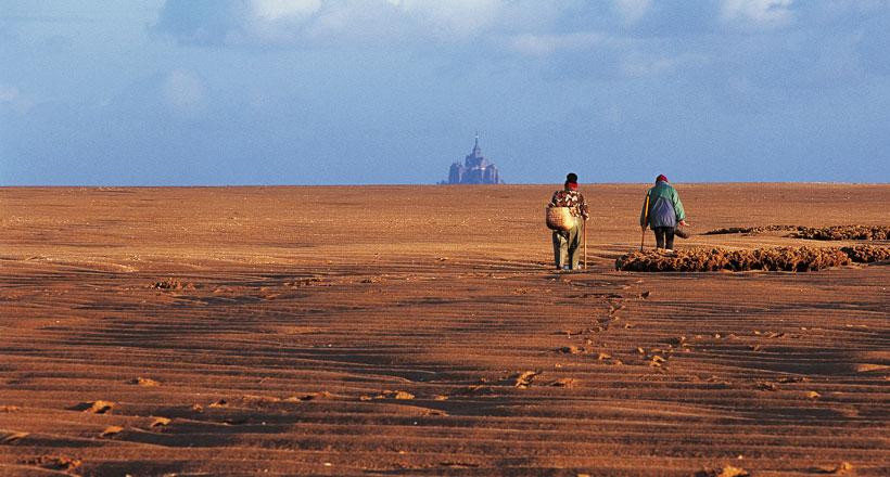 Marcheurs dans la baie du mont st-michel