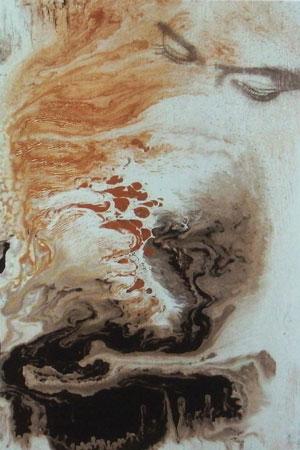 peinture abstraite volutes ocres